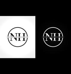 initial monogram letter nh logo design template vector image