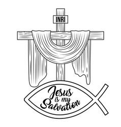 Jesus is my salvation sacred cross hand drawing vector