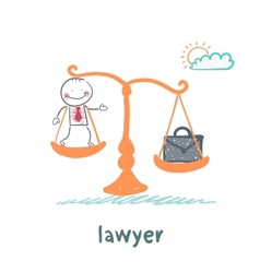 lawyer is on the scales with a suitcase vector image
