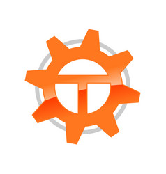 letter t initial engineering solution symbol vector image