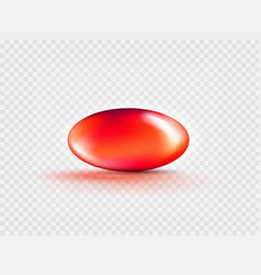Liquid gel red oval bubble capsule isolated on vector