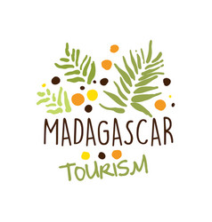 madagascar tourism logo template hand drawn vector image