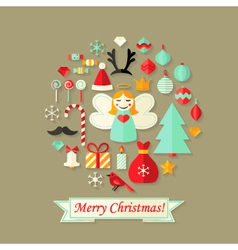 Merry Christmas Card with Flat Icons Set vector image