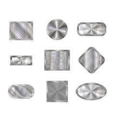 metal plates on steel screw rivets floor tiles vector image