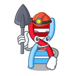 Miner dna molecule mascot cartoon vector