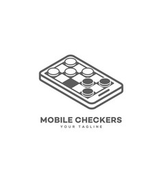 mobile checkers logo vector image