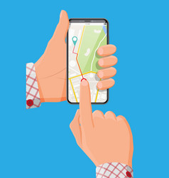 modern smartphone with map and marker in hand vector image