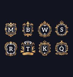 monogram logos luxury calligraphic elegant gold vector image