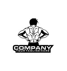 muscular man back view logo vector image