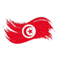 National flag of tunisia designed using brush vector