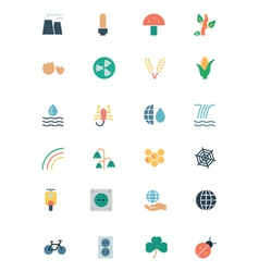 Nature and Ecology Colored Icons 4 vector image