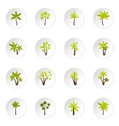 Palm tree icons set flat style vector image