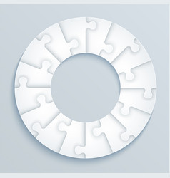 parts paper puzzles in form a circle vector image
