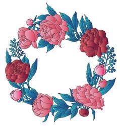 Peonies wreath vector