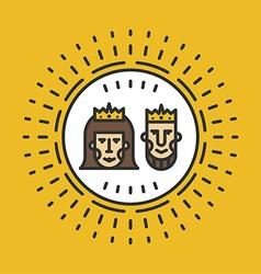 Portrait of Queen and King Line Art vector