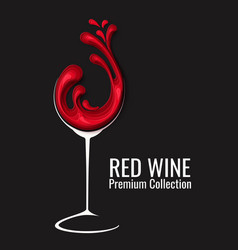 red wine splash in glass paper cut vector image