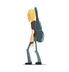 Rock Band Member Funny Character With The Guitar vector