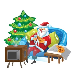 Santa and TV vector image