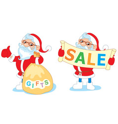 Santa sitting on a swing with mistletoe and rolls vector