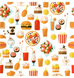 seamless pattern with fast food and drink vector image