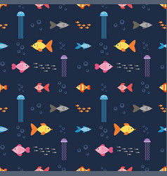 seamless pattern with underwater world with fish vector image