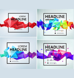 set faceted geometric abstract banners vector image