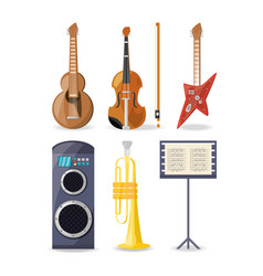 set icon music instruments amplifier and music vector image