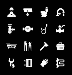 Set icons of plumbing vector