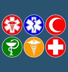 set medical international symbols decorated in vector image