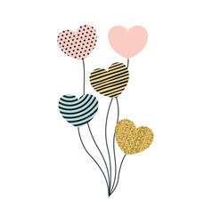 set of balloons in heart shape with different vector image vector image