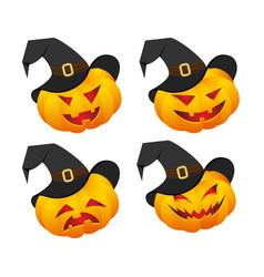 set of pumpkin emoticons vector image