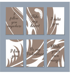 Set of six valentine cards vector