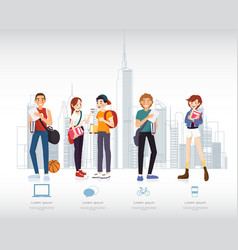 set of students with gadgets and books for vector image