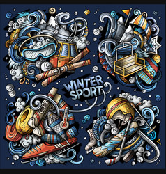 Set winter sport combinations objects vector