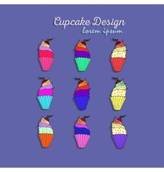 set with decorated cupcakes vector image