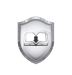 Shield with wavy pages of book and arrow vector