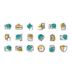 shopping commercial icons set line style dot color vector image