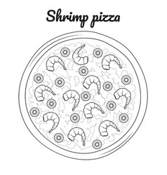 Shrimp pizza object for packaging advertisements vector