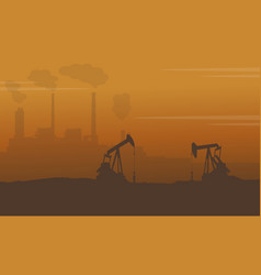 silhouette of construction with pollution industry vector image vector image