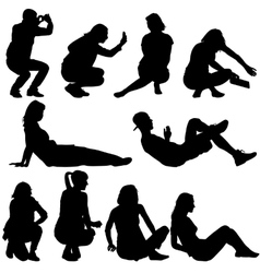 Silhouettes of people in positions lying and vector image