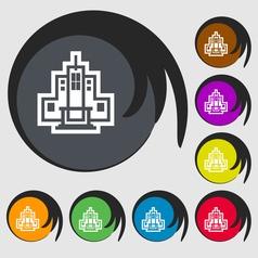 skyscraper icon sign Symbol on eight colored vector image