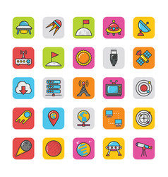 Space icons 3 vector