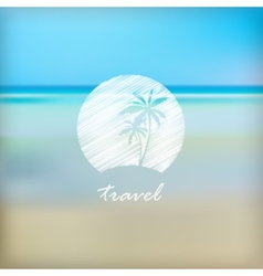 Summer holidays label in beach blurred background vector