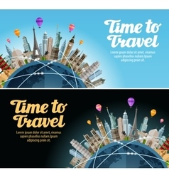 Travel to world Trip Landmarks on the globe vector image