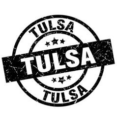 Tulsa black round grunge stamp vector