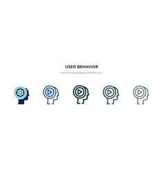 User behavior icon in different style two vector