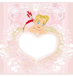 Valentines frame with a sweet cupid vector