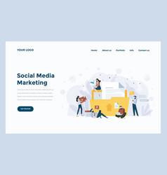 web design flat modern concept - social media vector image