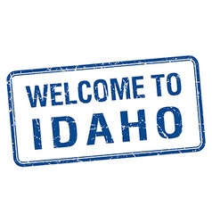 Welcome to Idaho blue grunge square stamp vector