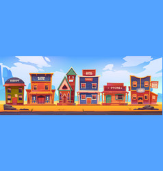 western town with old wooden buildings vector image